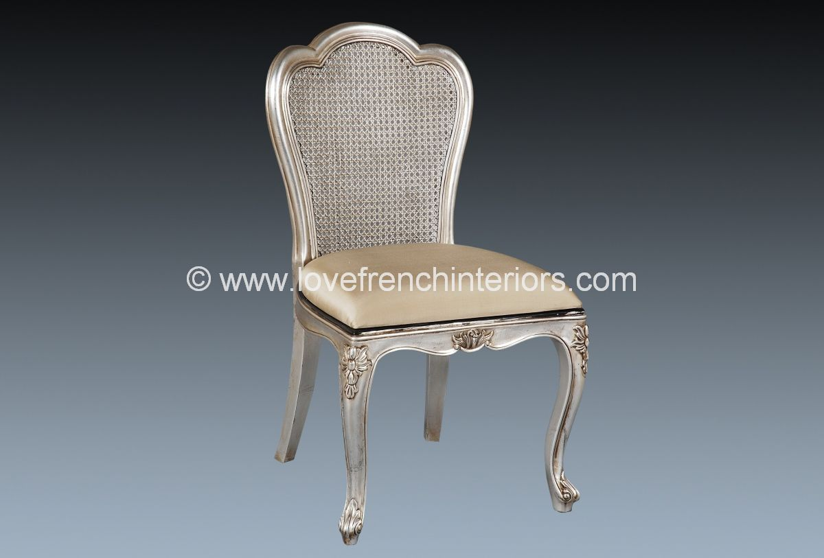 Silver Bedroom Chair Upholstered Chair In Silver Leaf